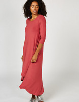 Join Clothes Jersey 3/4 Sleeve High Low Dress Cherry M