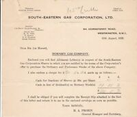 SOUTH-EASTERN GAS CORPORATION, LTD. 1939 Hornsey Gas Co. Stock Receipt Ref 46460