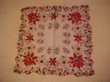 Vintage Hanky w/ Red Poinsettias and Holly Gold Detailing, 79343