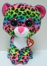 Ty Beanie Boos Dotty The Leopard Neon Pink Purple Green 9 Inch June 16 Birthday