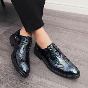 Chic Mens Lace Up Pointed Toe Oxfords Patent Leather Formal Business Dress Shoes