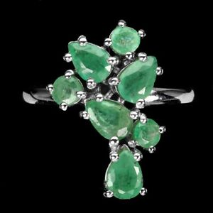 Unheated Pear Emerald 6x4mm 14K White Gold Plate 925 Sterling Silver Ring Sz 8.5
