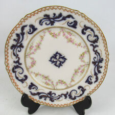 Unusual Theordore Haviland Limoges France Plate Dainty Roses W/ Gold Flow Blue