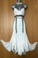 UK 12 KAREN MILLEN Ivory Silk Embroidered Strappy Fit Flare Cocktail Party Dress