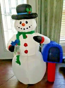 Gemmy 2015 Airblown Inflatable LED Snowman with Mailbox and Bluebird 4 Ft