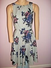 ELLE GRAY FIT AND FLARE DRESS WITH PINK AND BLUE FLOWERS-SLEEVELESS-SIZE 4