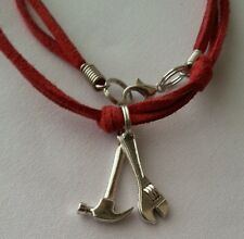 Leather Necklace Hammer Wrench Construction Tool Pendant Men's Woman Choker Red