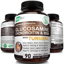 ☀ Glucosamine Chondroitin Turmeric & MSM with Boswellia - Complete Joint Pills