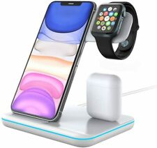 Techno S Fast 3 in 1 Wireless Dock Charging Station for Apple,Samsung + Adapter