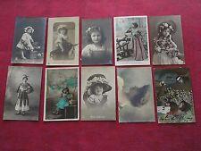 Lot de 10 cartes postales anciennes fantaisie / Art nouveau 1900-20 / CPA Alsace