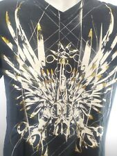MARC ECKO MEN'S COTTON V-NECK GRAPHIC T-SHIRT SIZE L GOLD SCISSORS.