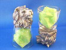 Lion Leo Animal Head Shot Glasses Set of 2  Glass and Pewter - Sorority Gift