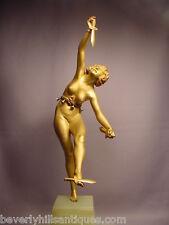 Rare Art Deco Orientalist Bronze Nude Lady Knife Juggler Dancer Signed Marquet