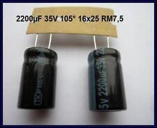 Elko Kondensator Elektrolyt Capacitor 2200µF 35V 16x25 105° 2 Stück