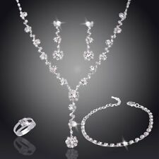 Fashion Silver Crystal Rhinestone Necklace Earrings Set Women Wedding Jewellery
