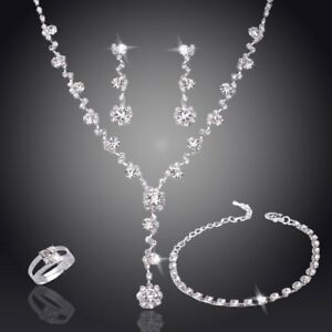 Fashion Silver Crystal Rhinestone Necklace Earrings Set Women Wedding Jewellery