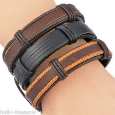 5PCs/Set Gift For Men Multilayer Woven Adjustable Leather Bracelet 20cm-22cm