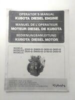 Kubota Operator's Manual Diesel Engine Models Z500-B, ZH600-B, DH850-B, D650-B,