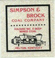 Simpson & Brock Coal Co Helton KY Vintage Unused Mining Hard Hat Sparkle Sticker