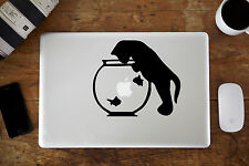 "Gato Y Peces Bowl Pegatina Vinilo Para Apple MacBook Aire/Pro Portátil 12"" 33cm"
