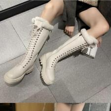 Womens Winter Fashion Leather Fur Lined Lace Up Knee High Combat Boots Shoes SUN