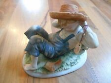 Old Vintage Lefton China Hand Painted Figurine Boy Relaxing Overalls Freckles