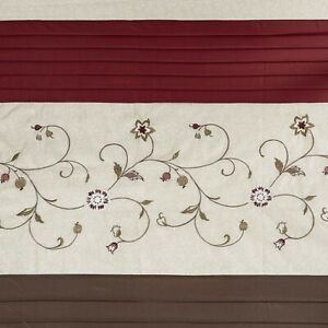 Madison Park Serene Shower Curtain Faux Silk Embroidered Floral 72x72 red beige
