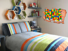 FULL COLOUR Lego Smashed Wall, Art, 3D Sticker, Decal, Transfer,