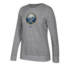 Buffalo Sabres NHL Adidas Women's Grey Distressed Team Logo Comfy Fleece