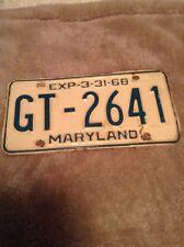 Vintage Maryland License Plate 1968
