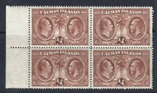 CAYMAN ISLANDS 1932 SG84 ¼d BROWN UNMOUNTED MINT BLOCK OF FOUR