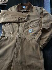 Vintage 1989 Carhartt Coveralls Zip Suit Work Duck 100 Anniversary Union 46T LTD