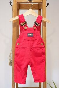 Made In The USA 3-6 months Oshkosh Primary Bright Red Corduroy Cord Dungarees