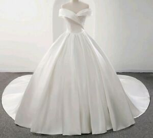 UK Luxury White/ivory Off Shoulder Bridal Satin A Line Wedding Dresses Size 6-20