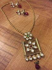 Indian Pakistani Ethnic Antique Gold Finish Kundan Jewelry Pendant Necklace Set
