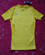 New Umbro Cyber Yellow Short/S Ctrew Neck Stretch Top M