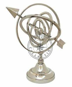 "11"" Nautical Marine Chrome Armillary Globe Sphere With Chrome Base Gift"