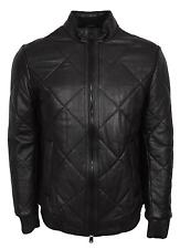 NEW BOSS Hugo Boss Men's $795 Black Quilted Lambskin Leather Biker Jacket 36R
