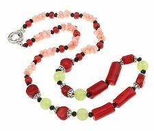Beautiful Natural Coral, Green Jade and Tibetan Silver Beaded Necklace 58cm