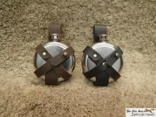 Potion flask to put on a belt, metal flask with leather support, SCA, LARP safe!