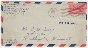 1943 Oct 11th. Military Air Mail Cover. A.P.O to Worthington, Minnesota.