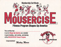 Disney Certificate Mousercise Membership Minnie Mouse Disneyland 1982