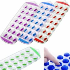 UK NEW HOT Ice Cube Tray Easy Pop out Maker Plastic Silicone Top Mould 21 Jelly