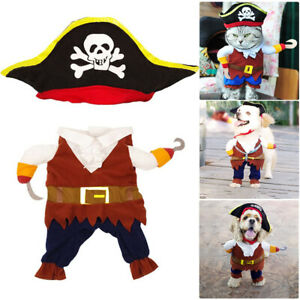 Pet Dog Cat Pirate Fun Fancy Dress Outfits Set Halloween Cosplay Costume Clothes