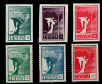Lithuania Sc #371,72,74 Imperf #375,76,78 Simulated Perfs 10/7/1990 First Issue