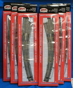 Lot of 6 - HO Scale ATLAS 595 & 596 Code 83 Curved Turnouts Left & Right 3 each