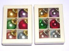 2 x 6  Miniatur Christbaumkugeln i.Karton, aus Glas 12mm bunt matt & glänzend