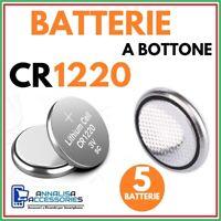 5 BATTERIE AL LITIO CR1220 3V VOLT PER OROLOGIO AUTO STOCK PILE 1220 A BOTTONE