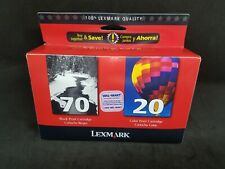 Lexmark 70 Black & 20 Color Ink Print Cartridge Twin Pack Combo New