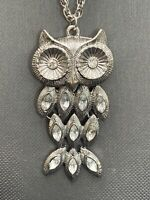 Vintage Bohemian Silver  Owl  Charm Key Spirit Animal Boho  Pendant Necklace 25""
